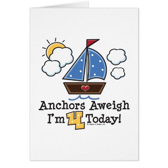 Invitaciones del cumpleaños del velero Aweigh de Tarjeta De Felicitación