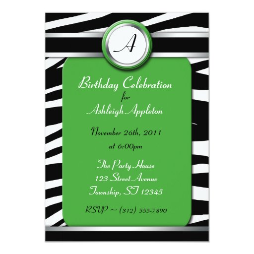 """Invitaciones del cumpleaños del verde del invitación 5"""" x 7"""""""