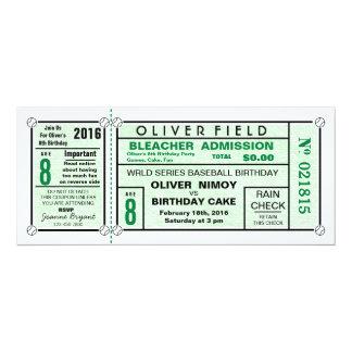 """Invitaciones del cumpleaños del verde del béisbol invitación 4"""" x 9.25"""""""