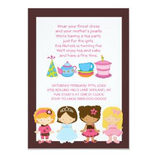 """Invitaciones del cumpleaños o de la fiesta del té invitación 5"""" x 7"""""""