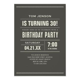 """Invitaciones del cumpleaños para los adultos invitación 5"""" x 7"""""""