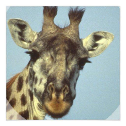 """Invitaciones del diseño de la jirafa invitación 5.25"""" x 5.25"""""""