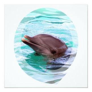 """Invitaciones del diseño del delfín invitación 5.25"""" x 5.25"""""""