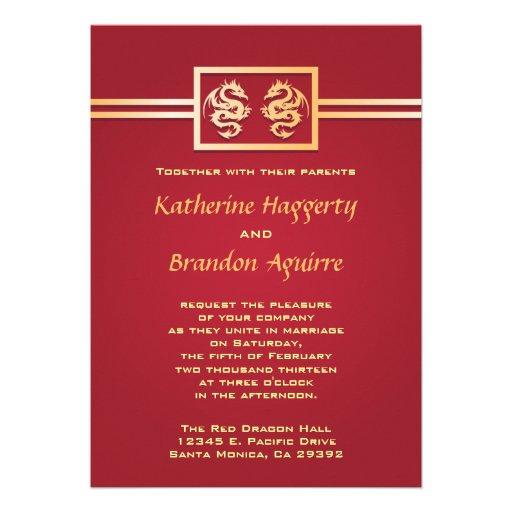 Invitaciones del dragón del rojo y del oro invitaciones personales