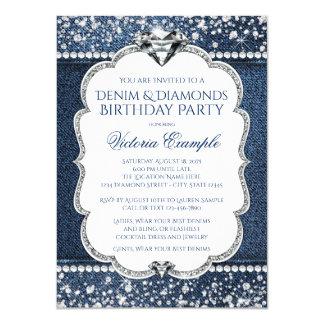 """Invitaciones del dril de algodón y de la fiesta de invitación 4.5"""" x 6.25"""""""