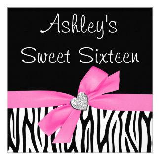 Invitaciones del dulce 16 del diamante del arco de invitacion personal
