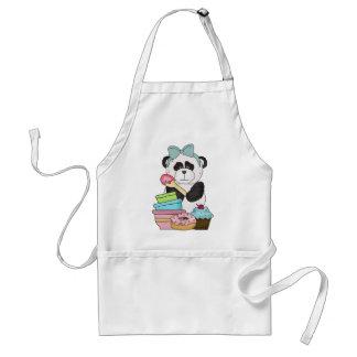 Invitaciones del dulce del oso de panda delantal