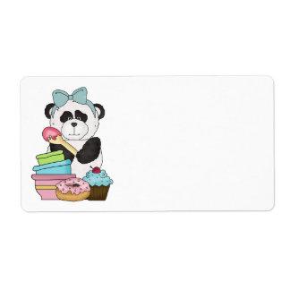 Invitaciones del dulce del oso de panda etiqueta de envío