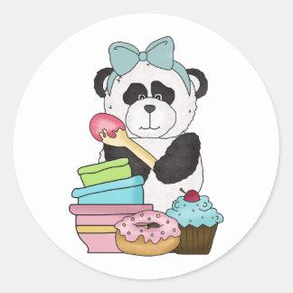 Invitaciones del dulce del oso de panda pegatina redonda