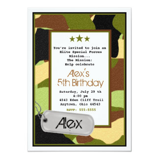 """Invitaciones del ejército, MilitaryInvitations, Invitación 4.5"""" X 6.25"""""""
