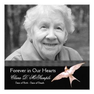 Invitaciones del entierro de la foto del negro de  anuncios personalizados