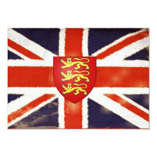 """Invitaciones del escudo de armas de Union Jack del Invitación 5"""" X 7"""""""
