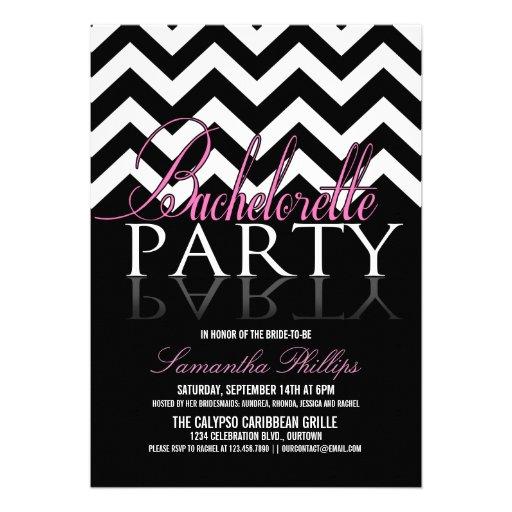 Invitaciones del fiesta de Bachelorette Chevron Comunicados Personales