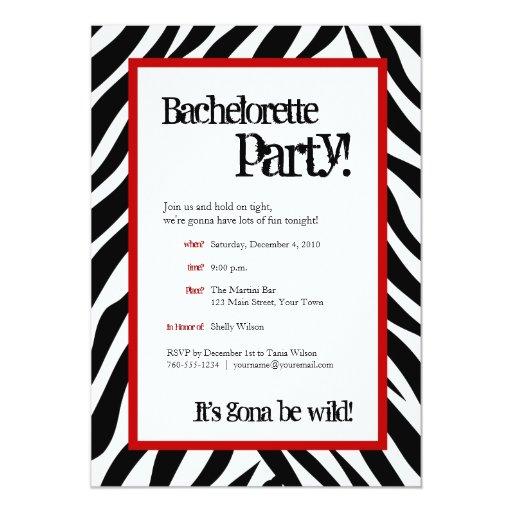 """invitaciones del fiesta de Bachelorette de la Invitación 5"""" X 7"""""""