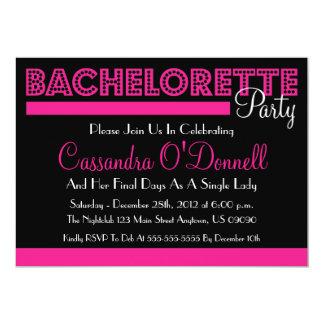 Invitaciones del fiesta de Bachelorette (rosa en Comunicado Personalizado