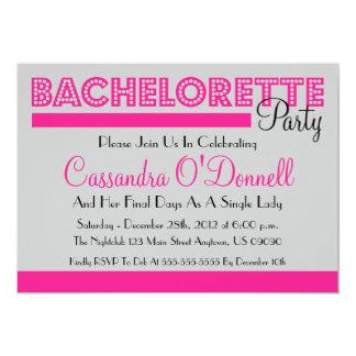 """Invitaciones del fiesta de Bachelorette (rosa en Invitación 5"""" X 7"""""""