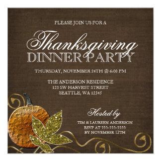 Invitaciones del fiesta de cena de la acción de gr