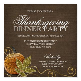 """Invitaciones del fiesta de cena de la acción de invitación 5.25"""" x 5.25"""""""