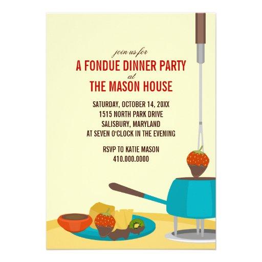 """Invitaciones del fiesta de cena de la """"fondue"""" anuncio personalizado"""
