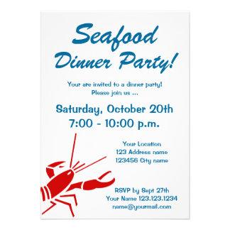 Invitaciones del fiesta de cena de los mariscos co