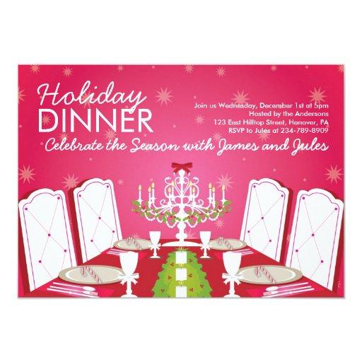 """Invitaciones del fiesta de cena de navidad - invitación 5"""" x 7"""""""