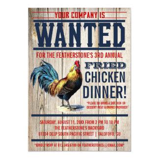 """Invitaciones del fiesta de cena del pollo frito invitación 5"""" x 7"""""""