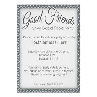 Invitaciones del fiesta de cena en gris anuncio