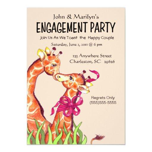 """Invitaciones del fiesta de compromiso de la jirafa invitación 5"""" x 7"""""""