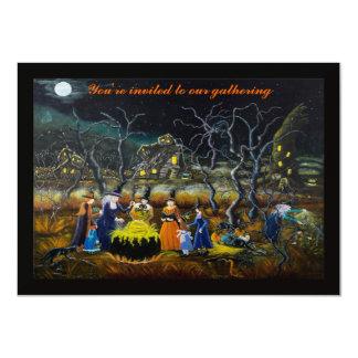 """Invitaciones del fiesta de Halloween, brujas con Invitación 4.5"""" X 6.25"""""""