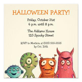 """Invitaciones del fiesta de Halloween del monstruo Invitación 5.25"""" X 5.25"""""""