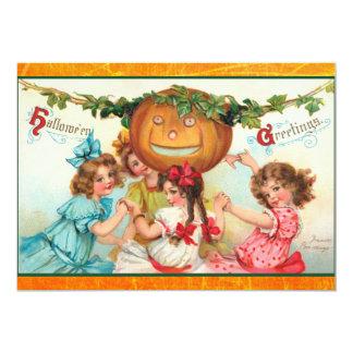 """Invitaciones del fiesta de Halloween del vintage Invitación 5"""" X 7"""""""