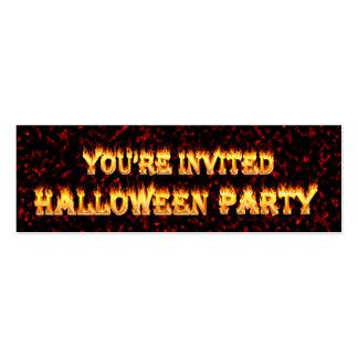 Invitaciones del fiesta de Halloween en fuego y Tarjetas De Visita Mini
