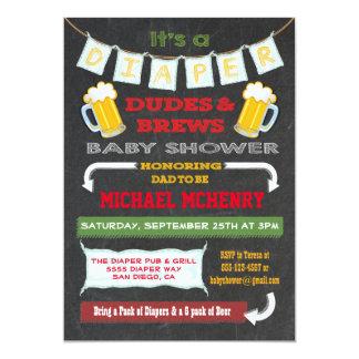 Invitaciones del fiesta de la cerveza y del pañal invitación 12,7 x 17,8 cm