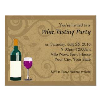 Invitaciones del fiesta de la degustación de vinos invitación 10,8 x 13,9 cm