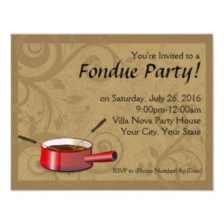 """Invitaciones del fiesta de la """"fondue"""" - chocolate invitación 4.25"""" x 5.5"""""""