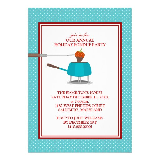 """Invitaciones del fiesta de la """"fondue"""" del día de  comunicado"""