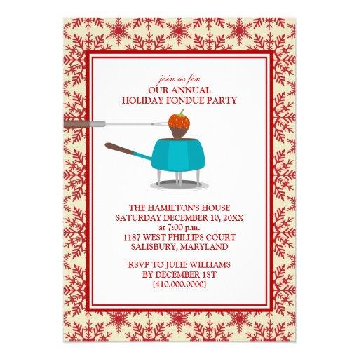 """Invitaciones del fiesta de la """"fondue"""" del día de  anuncio personalizado"""