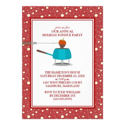 """Invitaciones del fiesta de la """"fondue"""" del día de  comunicado personalizado"""