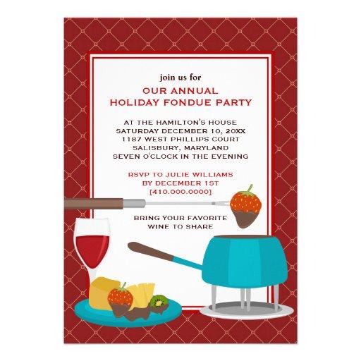 """Invitaciones del fiesta de la """"fondue"""" del día de  comunicados personalizados"""