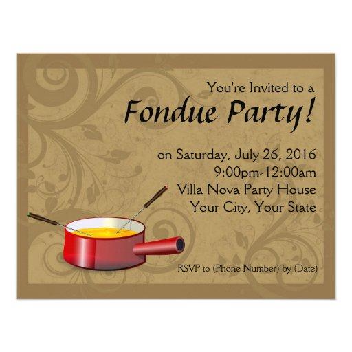 "Invitaciones del fiesta de la ""fondue"" - queso invitaciones personalizada"