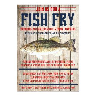 Invitaciones del fiesta de la fritada de pescado invitación 12,7 x 17,8 cm