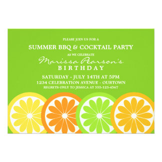 Invitaciones del fiesta de la fruta cítrica del ve