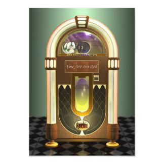 Invitaciones del fiesta de la máquina tocadiscos invitación 12,7 x 17,8 cm