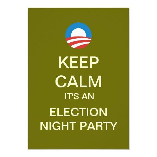 """Invitaciones del fiesta de la noche de la elección invitación 5"""" x 7"""""""