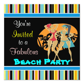 """Invitaciones del fiesta de la playa invitación 5.25"""" x 5.25"""""""