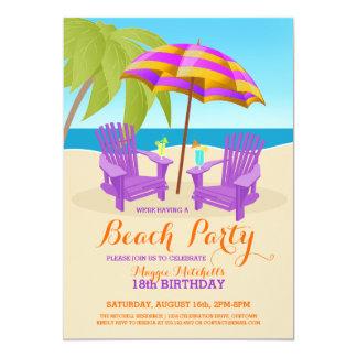 """Invitaciones del fiesta de la playa de la invitación 5"""" x 7"""""""