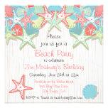 Invitaciones del fiesta de la playa del Seashell Anuncio