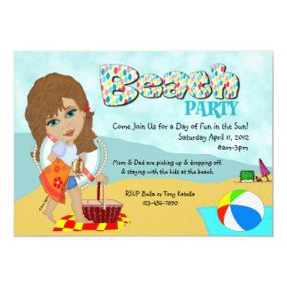 """Invitaciones del fiesta de la playa invitación 5"""" x 7"""""""