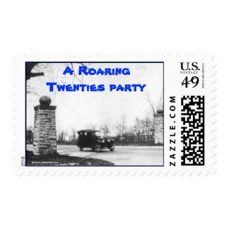 Invitaciones del fiesta de los años 20 del rugido sellos postales