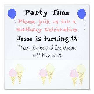 """Invitaciones del fiesta de los conos de helado invitación 5.25"""" x 5.25"""""""